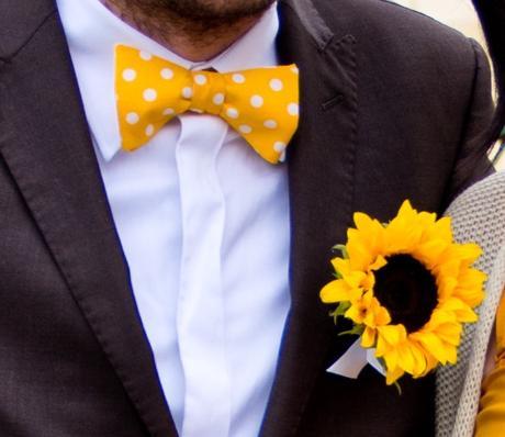 Pánský a dětský motýlek v barvě slunečnice,