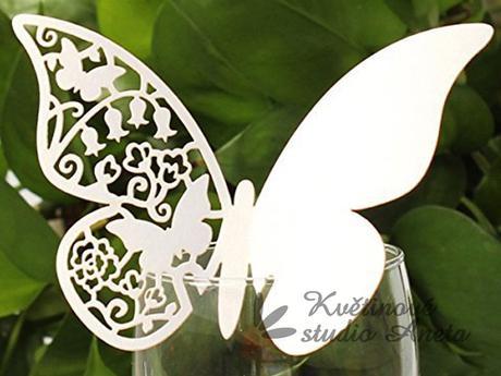 Jmenovka motýlek bílý s perletí,