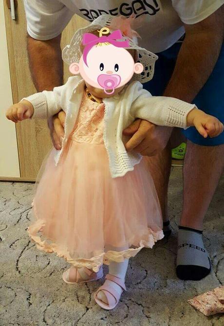 Šaty pro malou družičku - barva růžovooranžová, 74