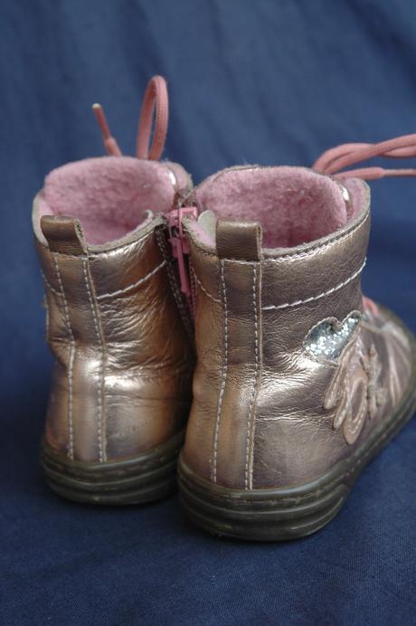 metalově růžové zateplené kožené boty ciciban, 21