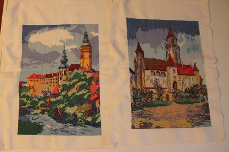 Rucne vysivane obrazy hradov - lacno,