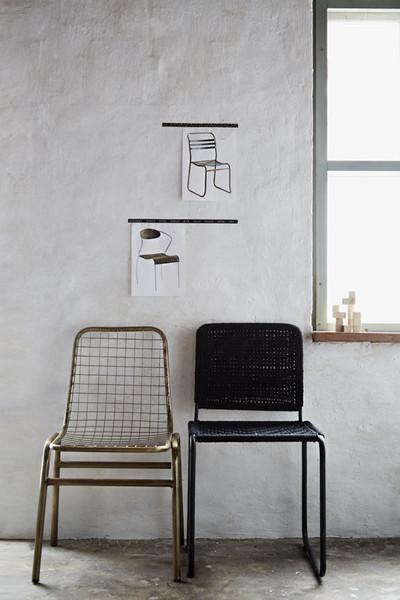 Kovová stolička, antik mosadzná,