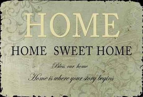 """Plechová ceduľa """"Home"""","""
