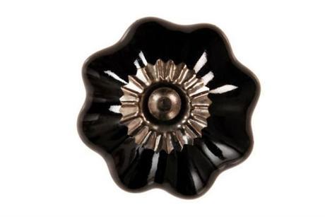 Porcelánová úchytka Sarah, čierna,