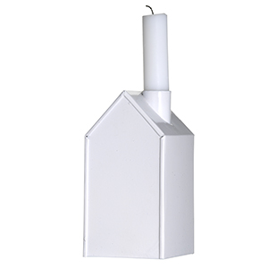 Svietnik domček biely, kovový,