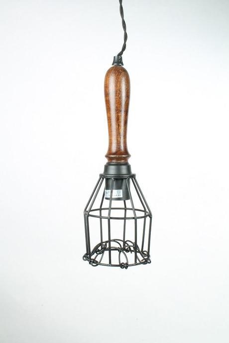 Závesná kovová lampa drôtená,
