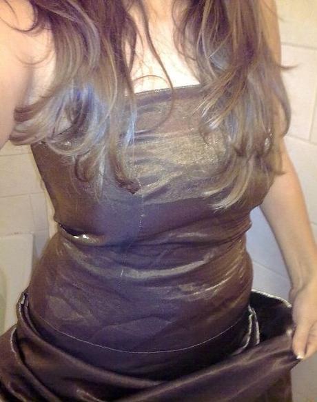 Zlato - hnědé plesové šaty, 36