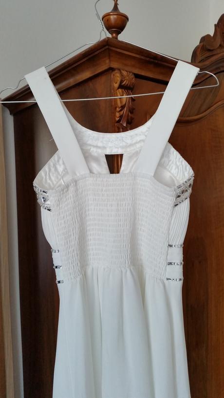 Dlouhé sněhobílé šaty antický styl, 36