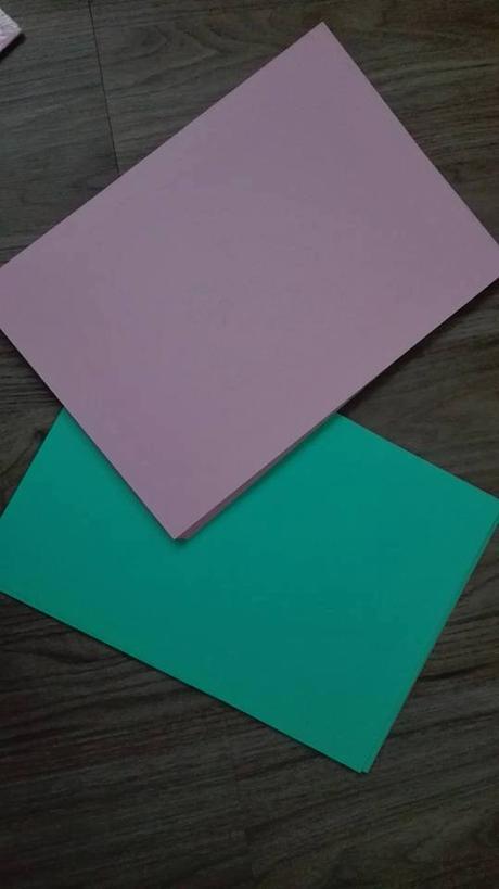 Mintový a růžový papír na tvorbu A4,