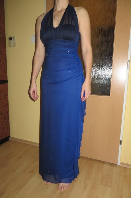 Modré společenské šaty, 38