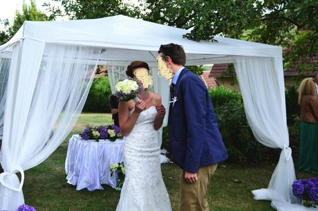 Obřadní svatební altán + tylová výzdoba.,