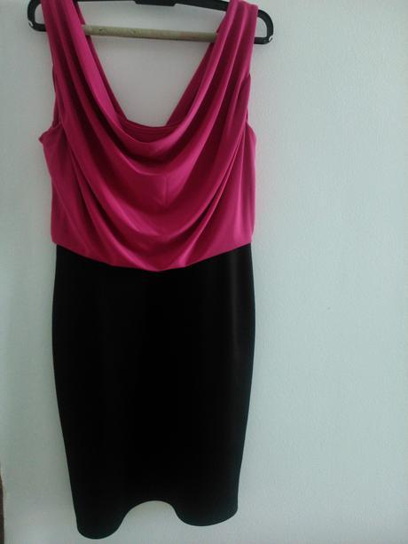 Spoločenské šaty cyklamenovo-čierne, 40