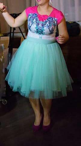 Mentolová tylová sukňa, M