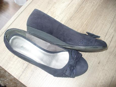 modré topánočky na klinovom opätku, 41