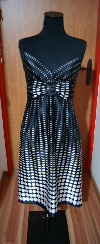 čierno-biele bodkované šaty, L