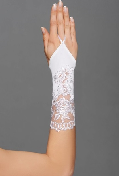 svatební rukavičky bílá a ivory,