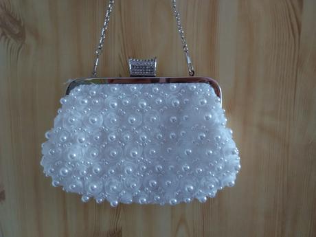 perlová svadobná kabelka ,