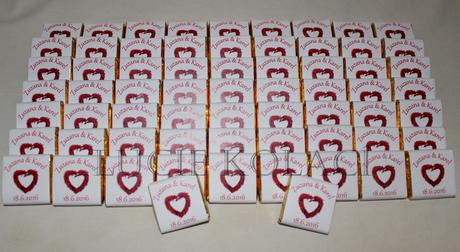 Svatební čokoládky a žvýkačky,