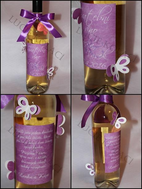 Svatební vína, mini vína a sekt.,