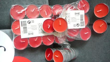 červené čajové svíčky,