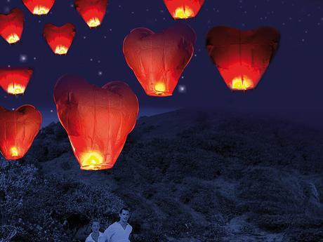 svatební létající lampiony přání ,