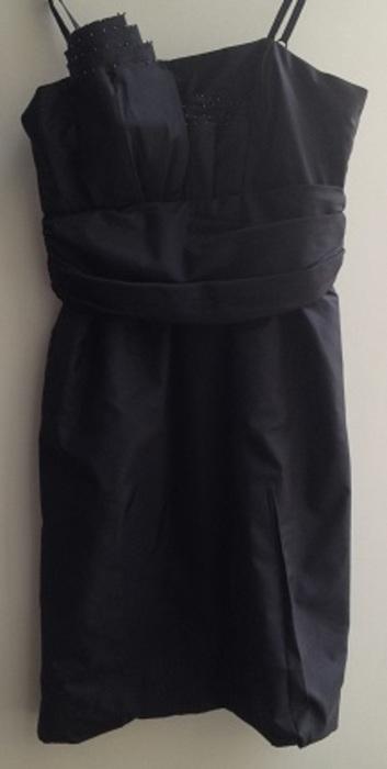 Černé šaty efektní řasení v dekoltu, 36