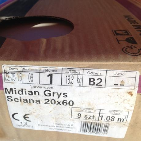 Midian grys sciana 20x60cm seda,