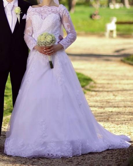 e7b8c705832e Svadobné šaty dlhý rukáv