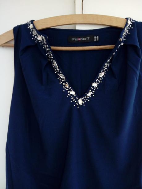 Dlouhé  tmavě modré šaty, S