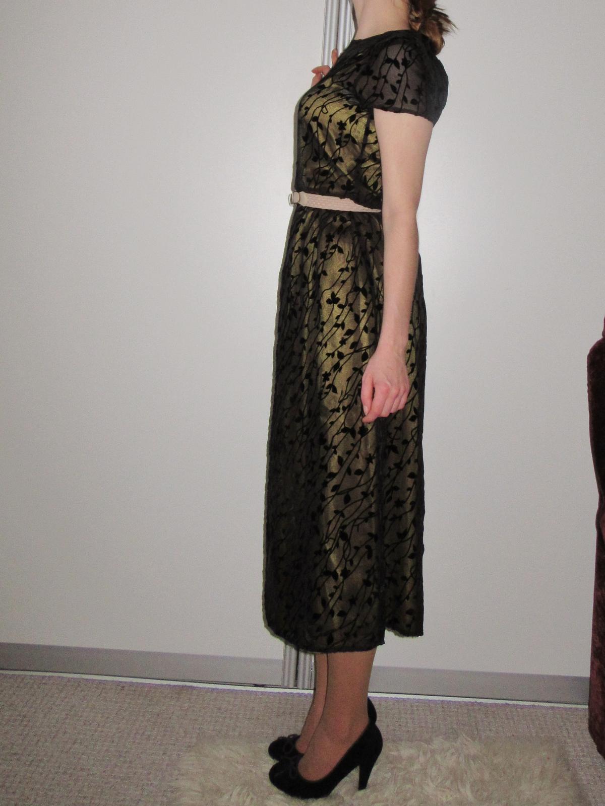 Luxusné zlato čierne zdobené šaty 0824763133