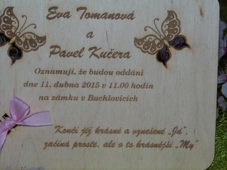 Originální dřevěné svatební oznámení ,