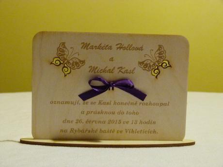 Originální dřevěné svatební oznámení,