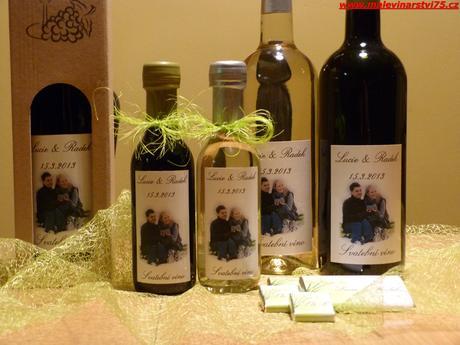 Svatební minivíno, svatební víno, čokoládka,