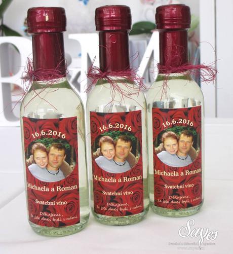 Svatební vína a minivína s originální etiketou,