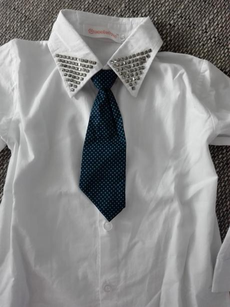 Moderná chlapč.košela so štylovou kravatou-nenosen, 116