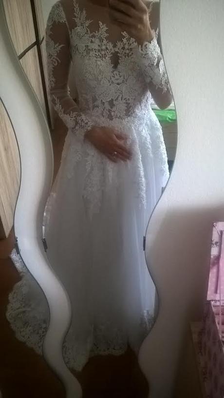 čipkované šaty s dlhým rukavom, 36