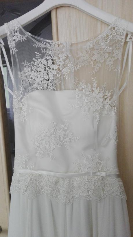 Romantické svadobné šaty, kvalitný šifón a čipka, 36