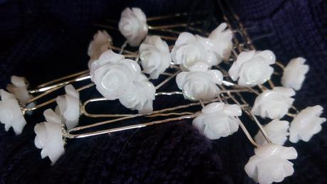 vlásenky bílá růže, sponky,