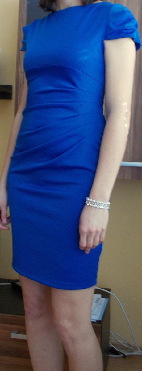 Inlife krátke modré elastické šaty, veľ. L, 40