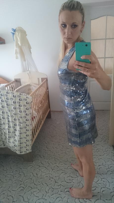 Stříbrné flitrové šaty , 40