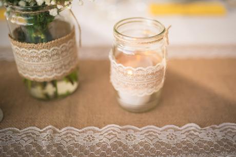dekoračné sklenáky-svietniky na ľudovú svadbu ,