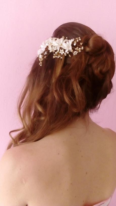 Květinová spona do vlasů 15 cm,