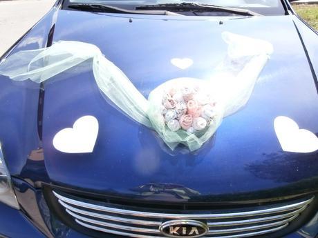 Látková kytice na auto,