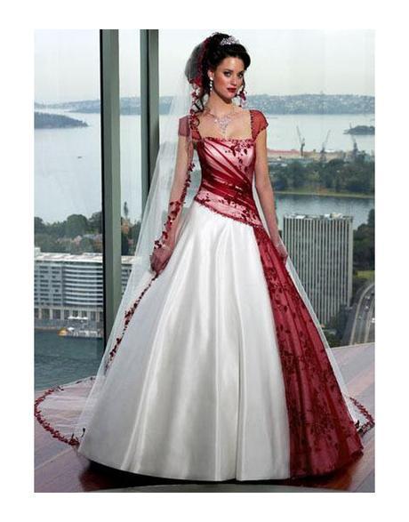 svatební šaty bíločervené, 38