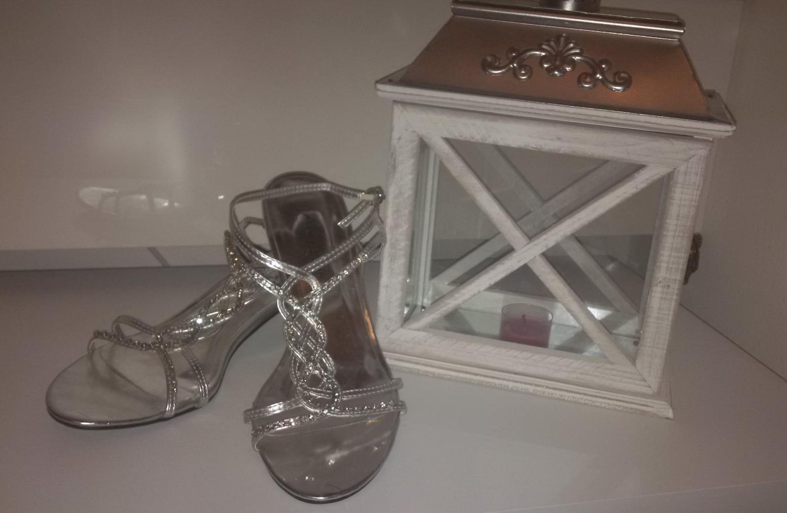 2ceff3c8591 Luxusní stříbrné střevíčky s kamínky