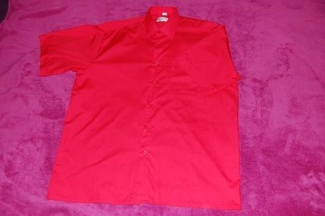 Jasně červená košile - krátký rukáv, 42