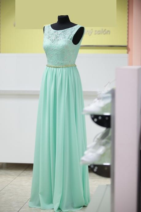 Pastelovo-zelené šifónové šaty s krajkou - 38 dba5dd05b7