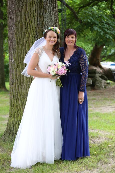 Dlouhé modré šatičky na svatbu i na ples, 42
