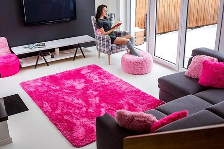 Plyšový koberec - ružový,