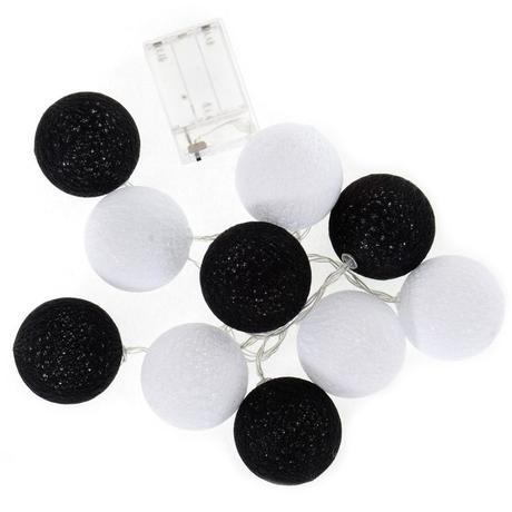 Svetelná reťaz Cotton balls čiernobiela 10 ks,